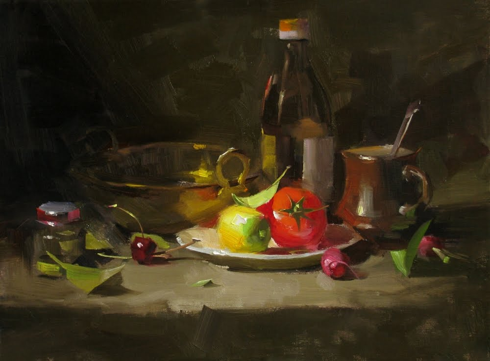 """Veggie Stir Fry"" original fine art by Qiang Huang"