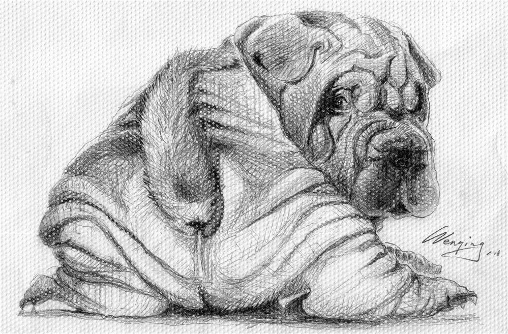 """""""dog-back view"""" original fine art by Wenqing Xu"""