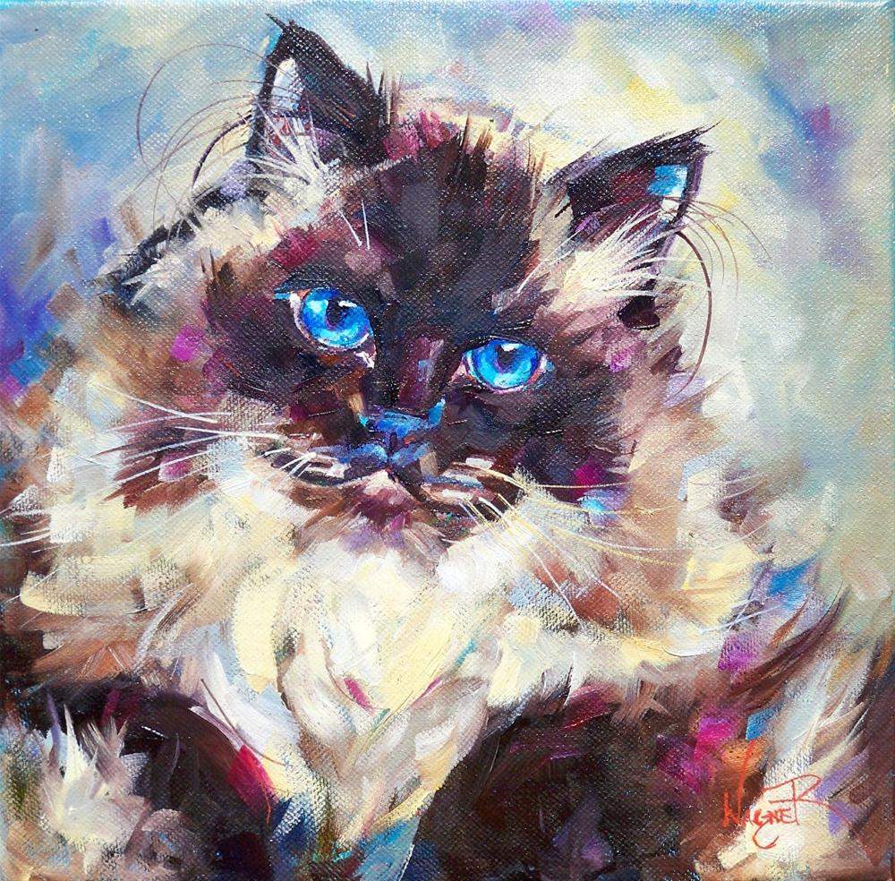 """""""COMMISSIONED HIMALAYAN CAT PORTRAIT"""" original fine art by Olga Wagner"""
