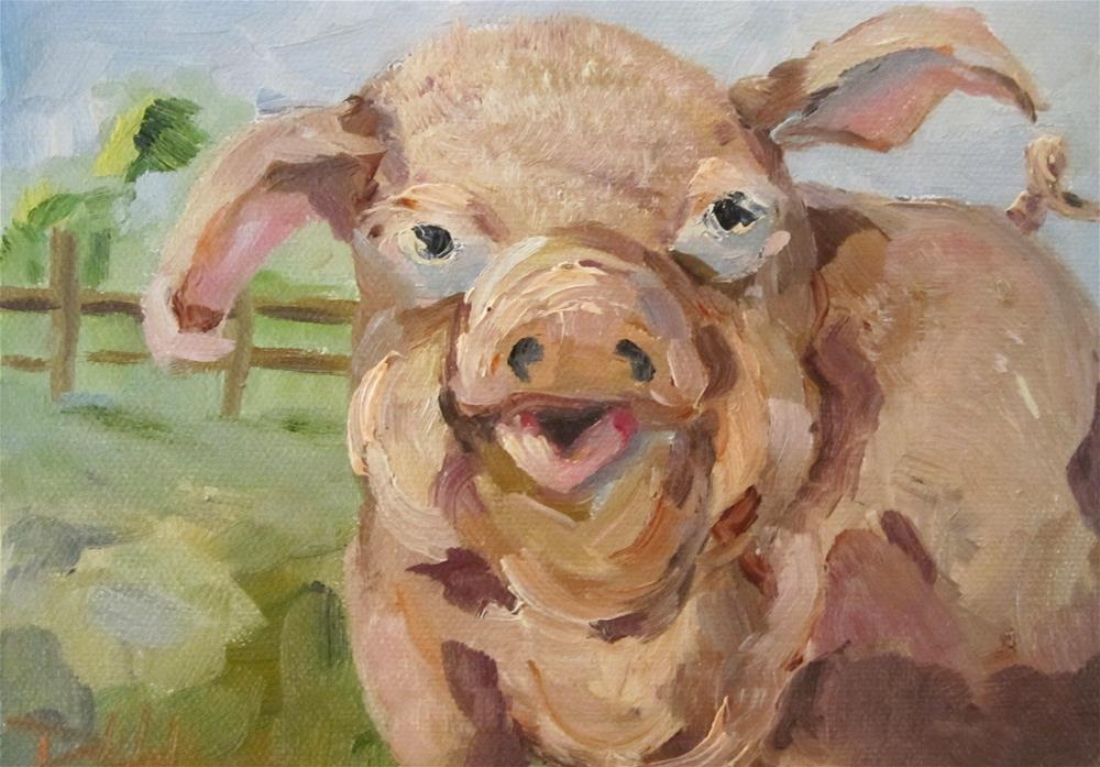 """Farmers Pig"" original fine art by Delilah Smith"