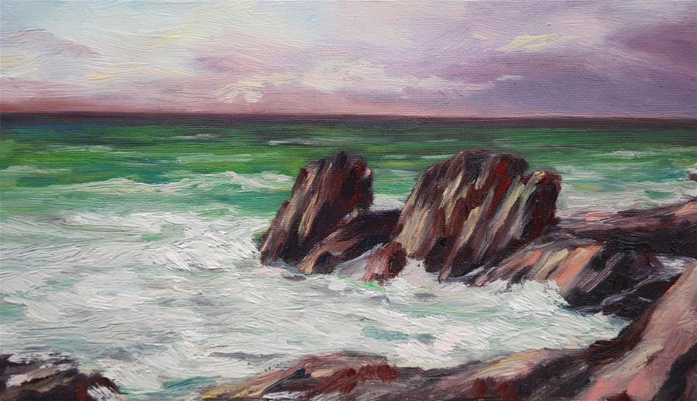 """Daily color scales #1 Sea storm"" original fine art by Olga Touboltseva-Lefort"
