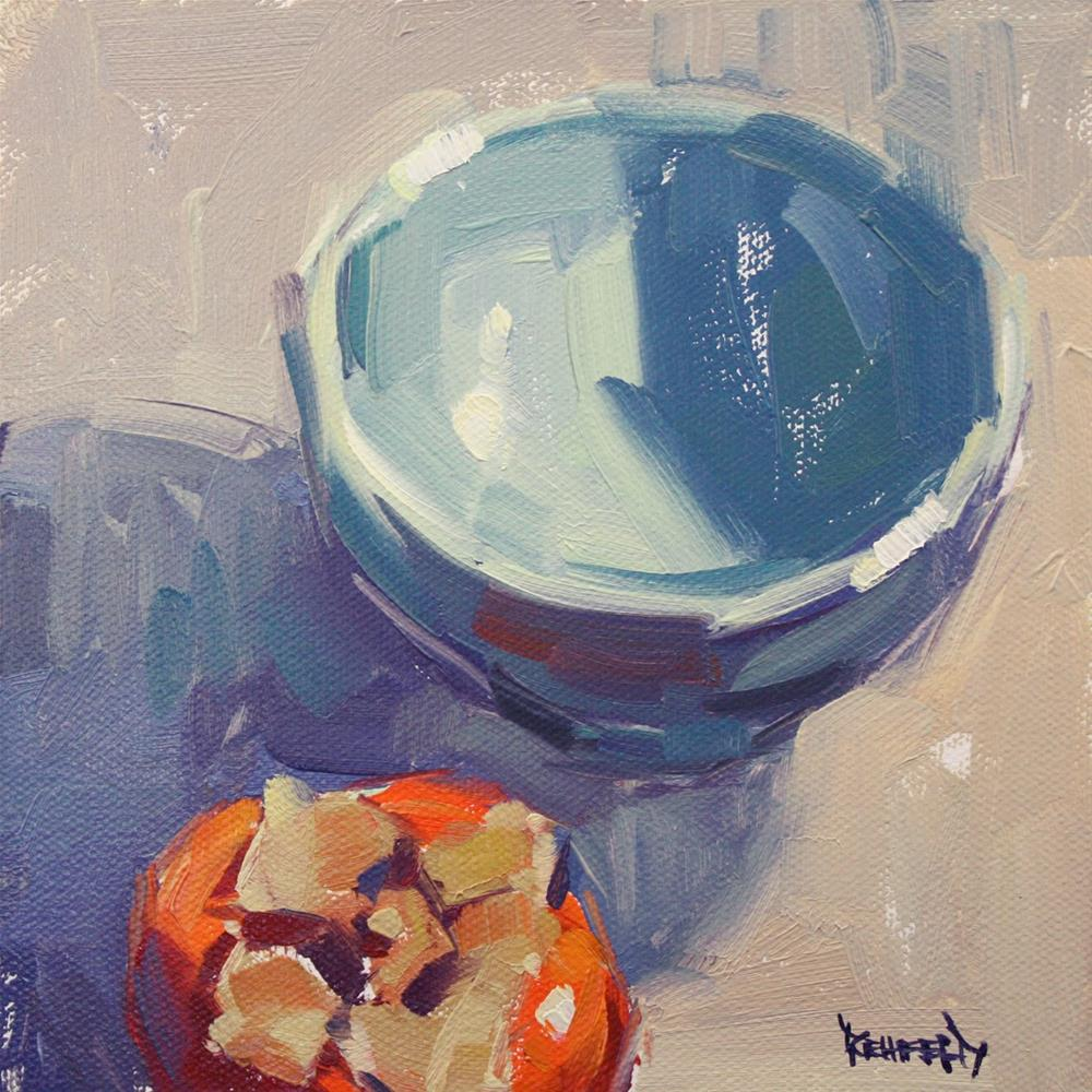 """""""Blue Bowl and Persimmon"""" original fine art by Cathleen Rehfeld"""