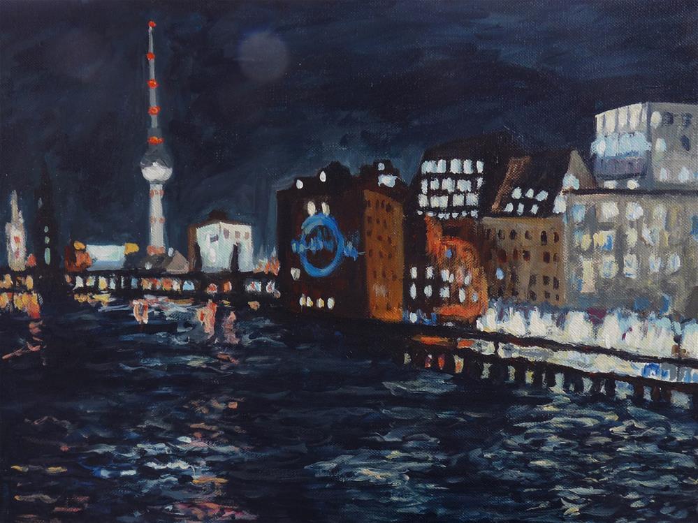 """Berlin at Night"" original fine art by Eva Grünwald"