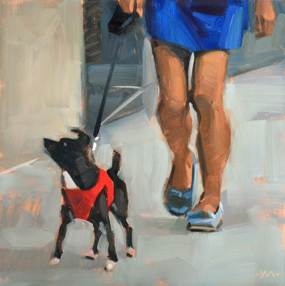 """Walk the Doggie"" original fine art by Carol Marine"