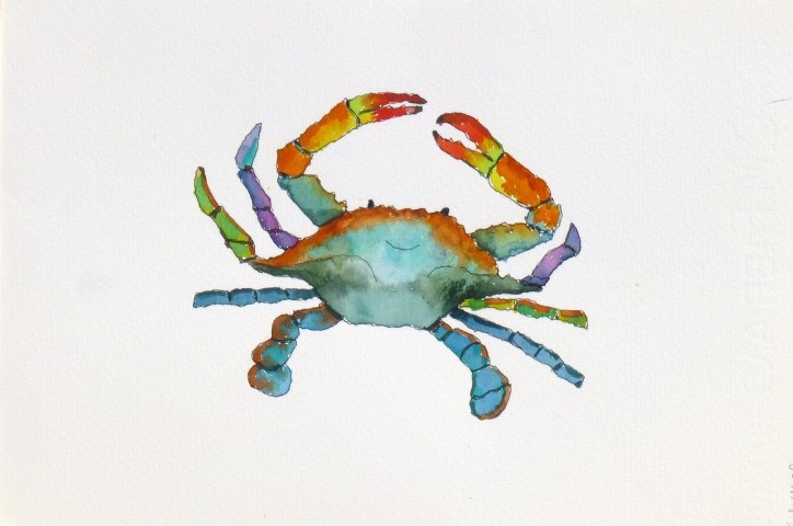 """Blue Mesa Crab 14014 SOLD"" original fine art by Nancy Standlee"