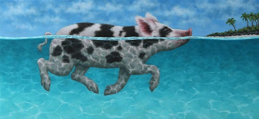 """Swimming Piglet I"" original fine art by Sarah Becktel"