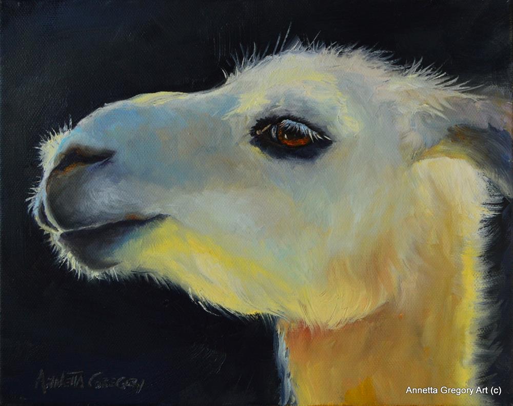 """""""Llama Beauty"""" original fine art by Annetta Gregory"""