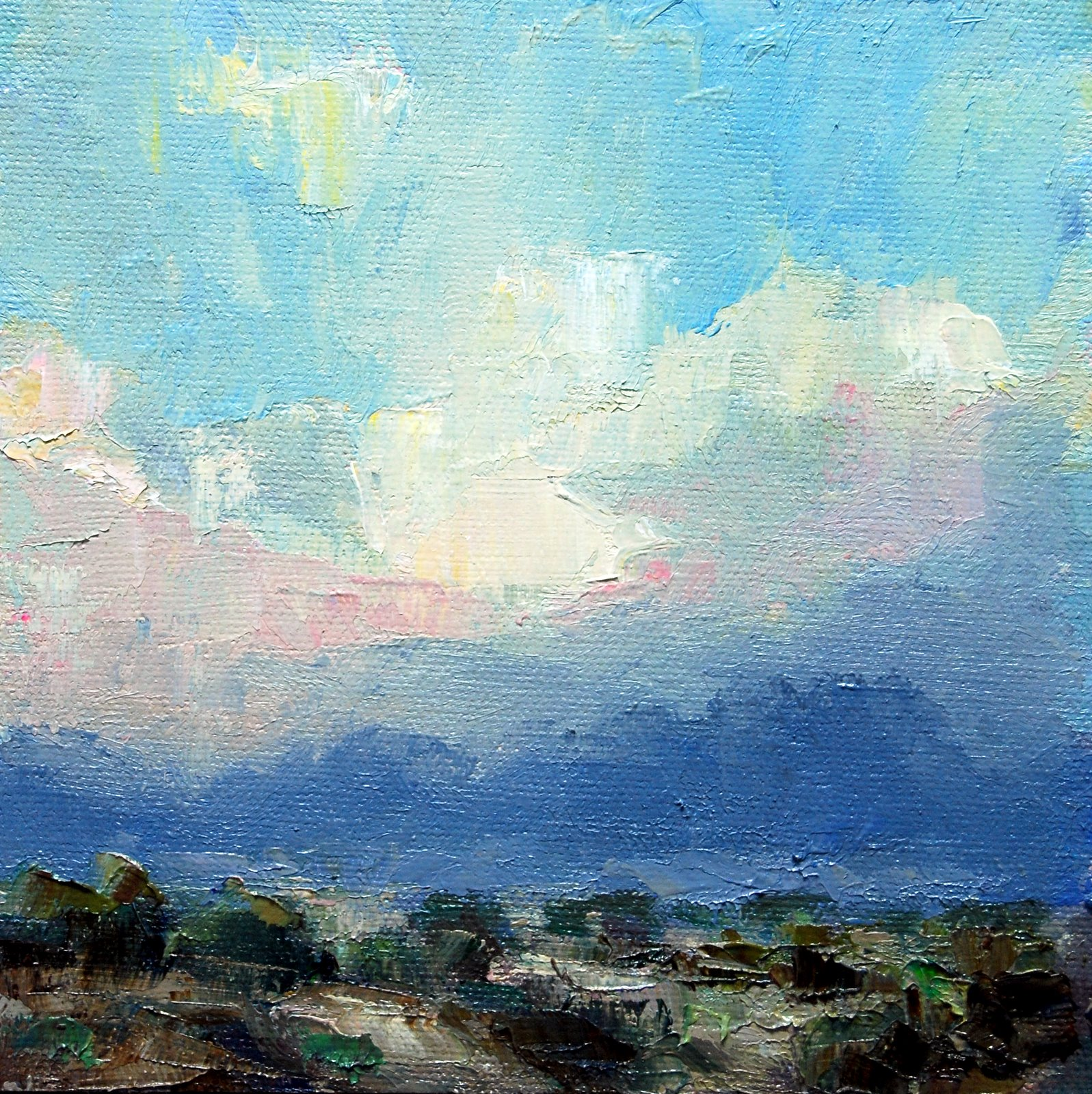 """""""Stormy Clouds at Sunset."""" original fine art by Julie Ford Oliver"""