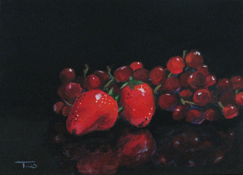 """""""Strawberries and Grapes"""" original fine art by Torrie Smiley"""