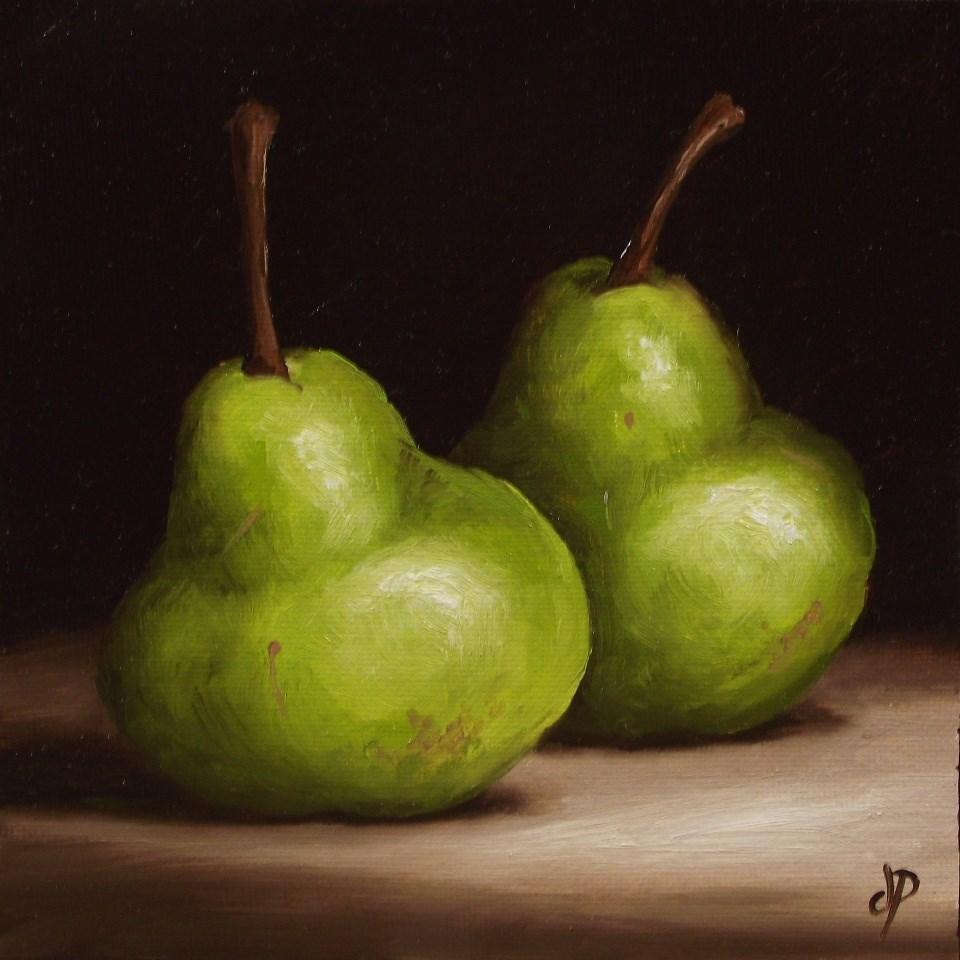 """Pair of Pears #8"" original fine art by Jane Palmer"