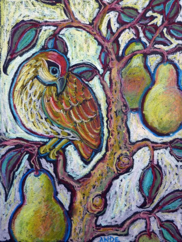 """Partridge in a Pear Tree l"" original fine art by Ande Hall"