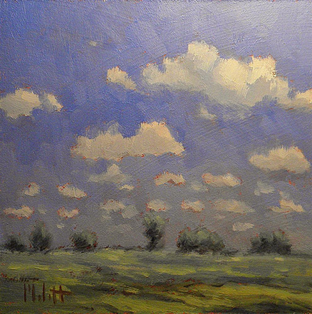 """""""Midwest Skies Clouds Landscape Daily Oil Painting"""" original fine art by Heidi Malott"""