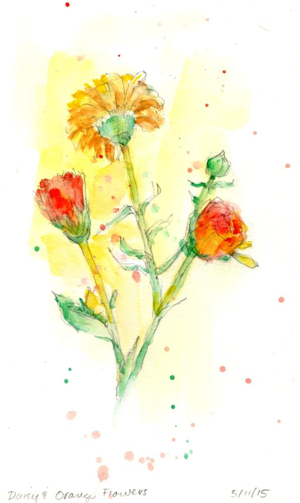 """Daisy and Orange Flowers watercolor painting"" original fine art by Marlene Lee"
