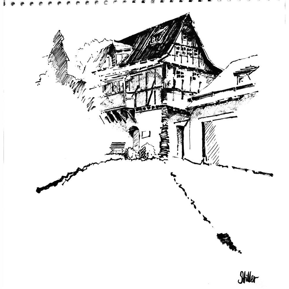 """""""3598 Wuelmersen Castle"""" original fine art by Dietmar Stiller"""