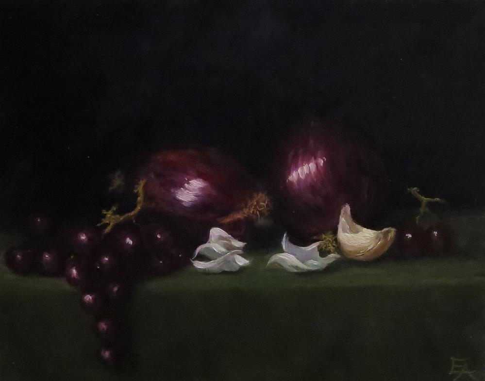 """Red Onions, Garlic and Grapes"" original fine art by Elizabeth Elgin"