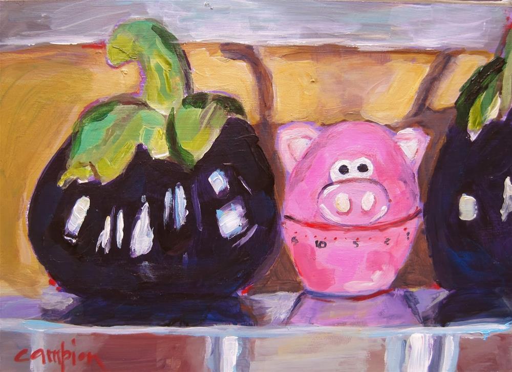 """""""167 This Little Piggy Went To Market"""" original fine art by Diane Campion"""