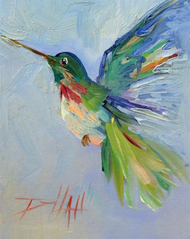 """Green Hummingbird"" original fine art by Delilah Smith"