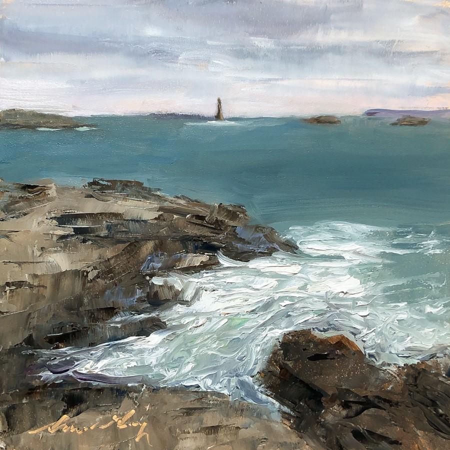 """""""#253 - Ram Island Ledge Light - Casco Bay - ME"""" original fine art by Sara Gray"""