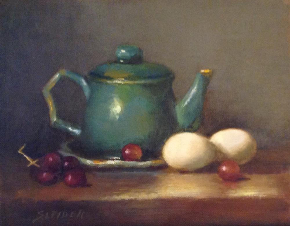 """2 Eggs and a Teapot"" original fine art by Susan Leider"