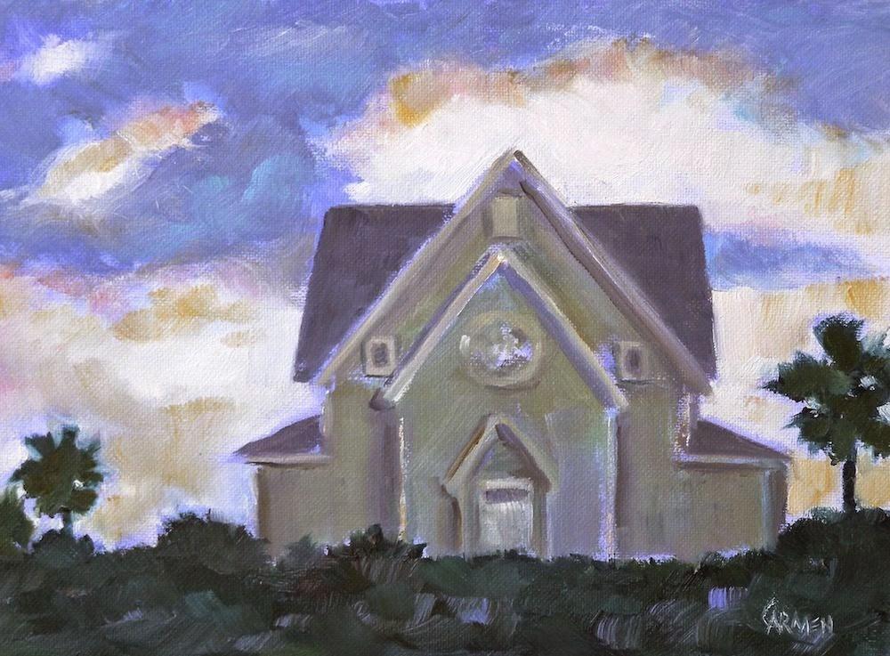"""House on the Beach, 8x6 Oil Painting on Canvas Panel"" original fine art by Carmen Beecher"