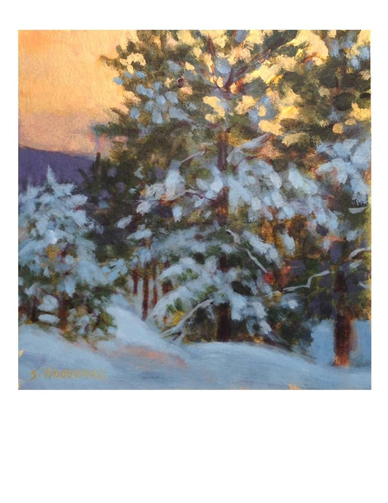 """Snowy Forest Sunset"" original fine art by Suzanne Woodward"