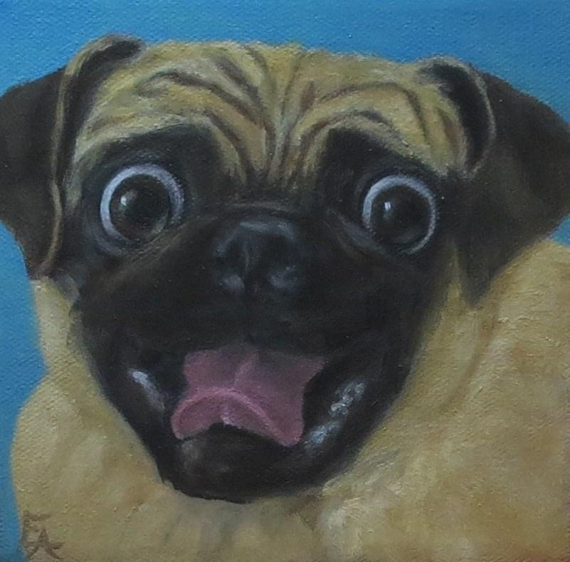 """""""Pug Wants to Go for a Walk!"""" original fine art by Elizabeth Elgin"""
