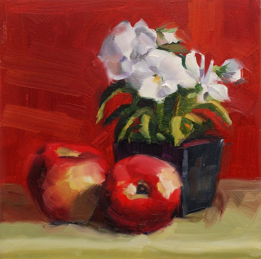 """""""No. 515 Pansies with Apples and Lots of Red"""" original fine art by Susan McManamen"""