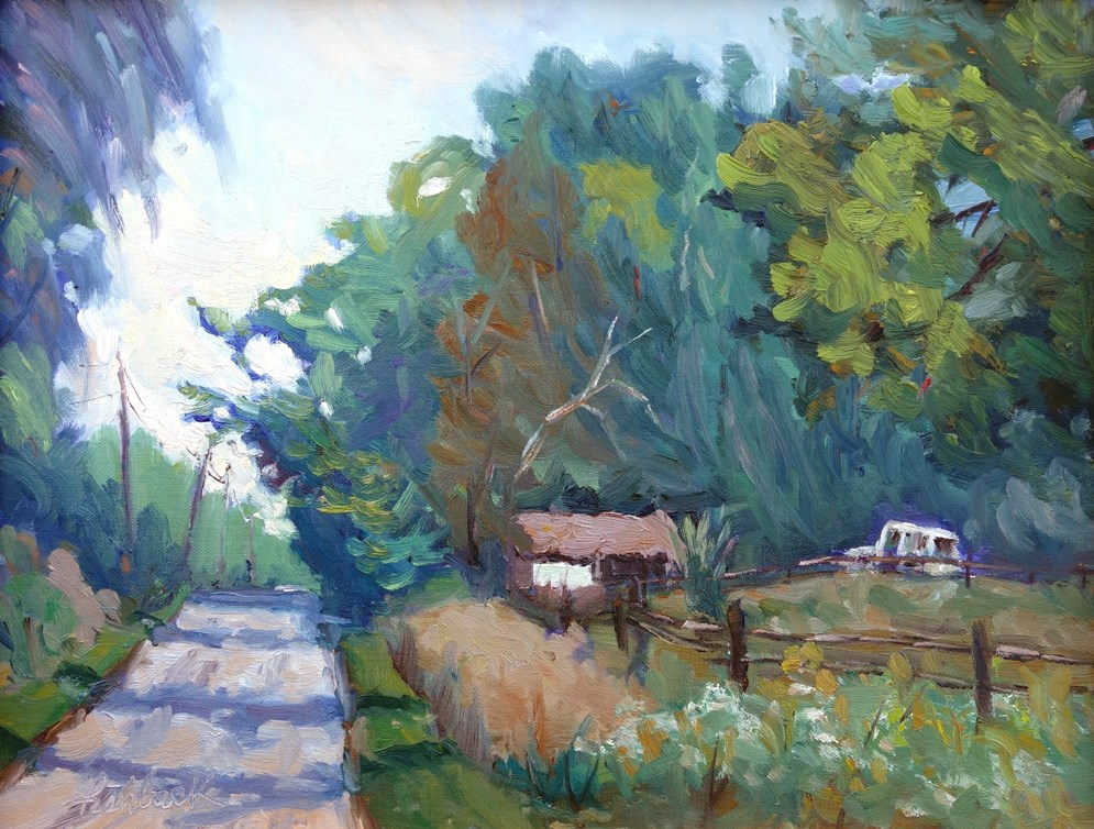"""Up the Road"" original fine art by Daniel Fishback"