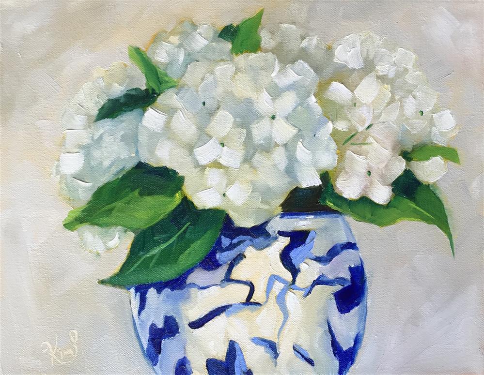 """""""Hydrangeas in blue and white pot"""" original fine art by Kim Peterson"""