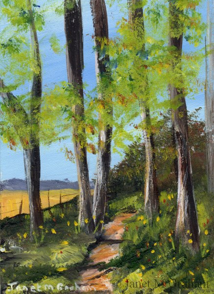 """Summer Track ACEO"" original fine art by Janet Graham"