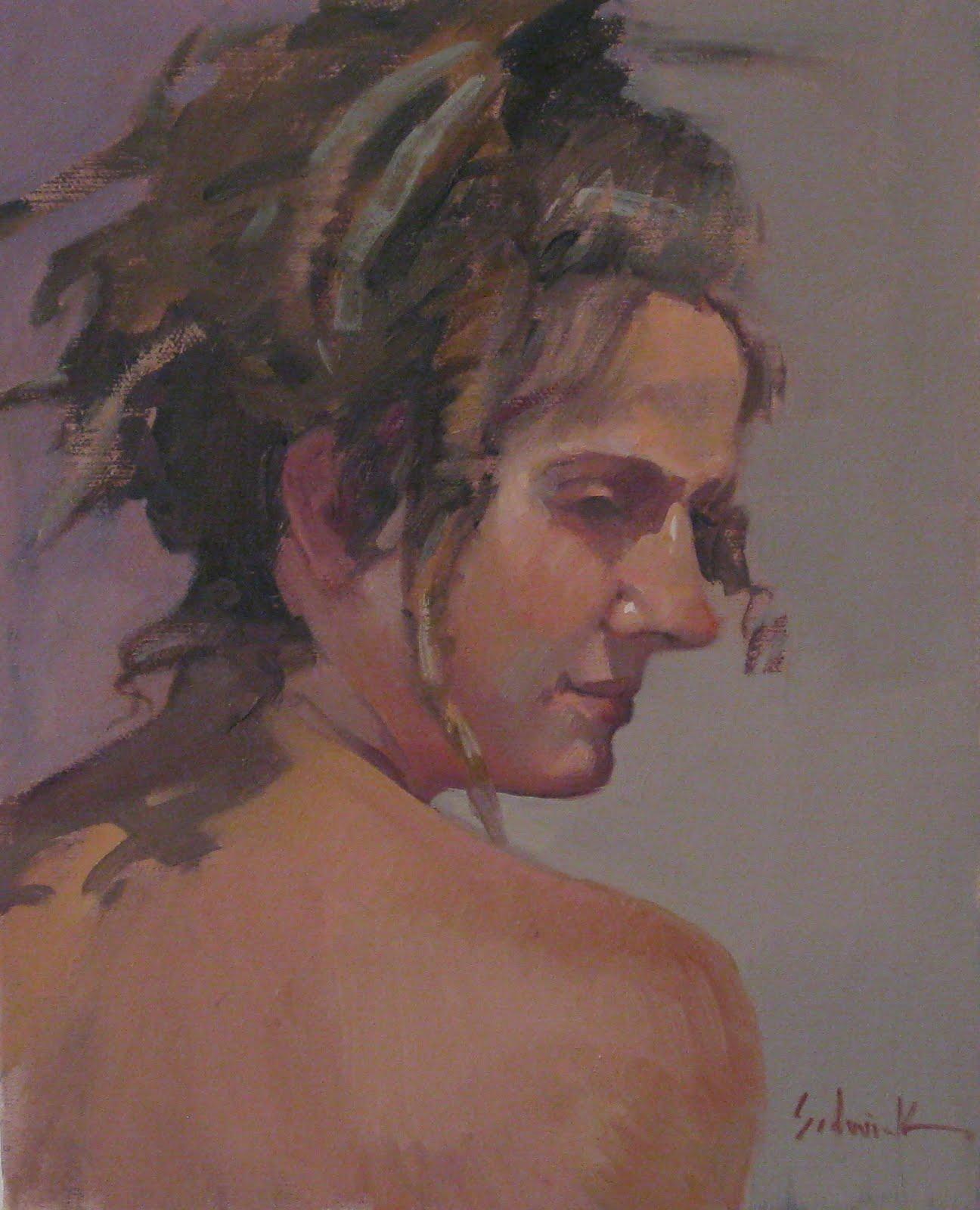 """Over Her Shoulder"" original fine art by Sarah Sedwick"