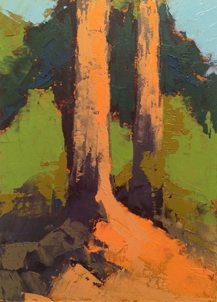 """""""Pines On Bank"""" original fine art by Mary Gilkerson"""