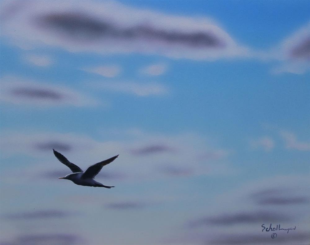 """""""Gull Over Jupiter Beach"""" original fine art by Fred Schollmeyer"""