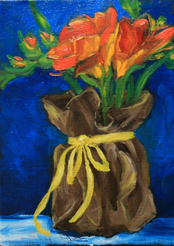"""""""Freesias with Yellow Ribbon"""" original fine art by Jean Nelson"""