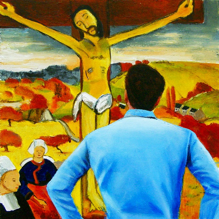 """Yellow Christ- Painting Of Man Enjoying Painting By Paul Gauguin"" original fine art by Gerard Boersma"