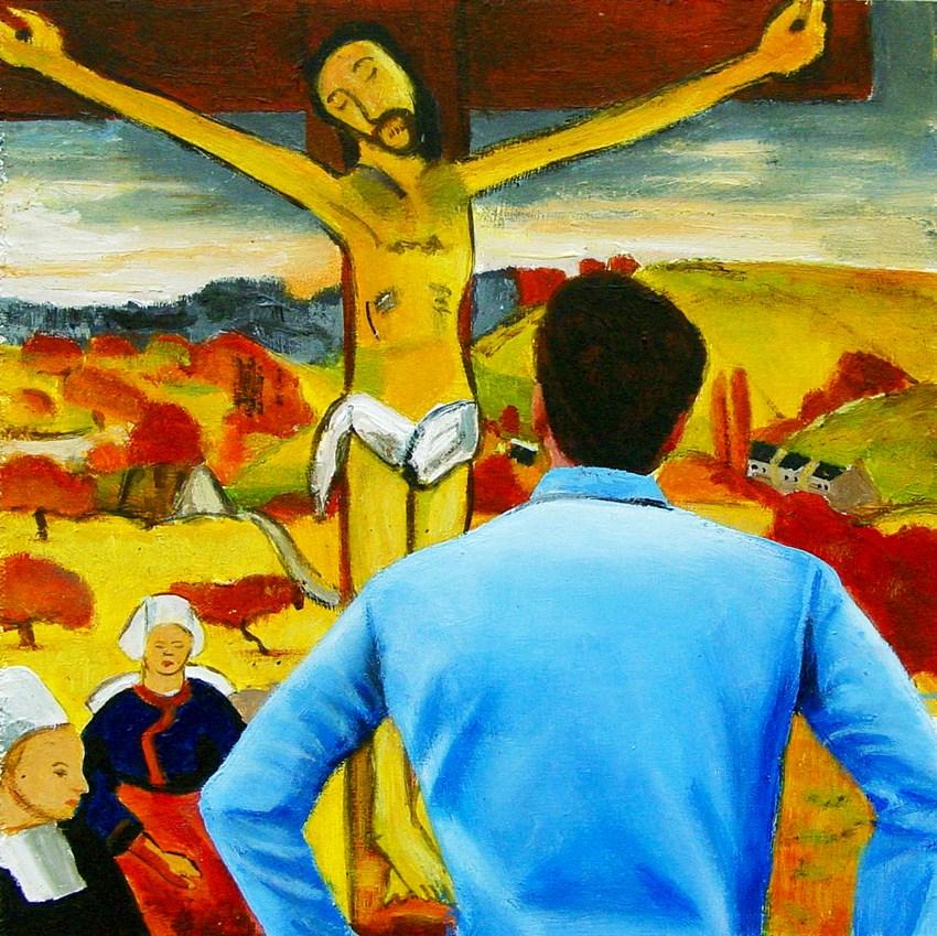 """Yellow Christ- Painting Of Man Enjoying Painting By Paul Gauguin"" original fine art by Gerard Boersma"