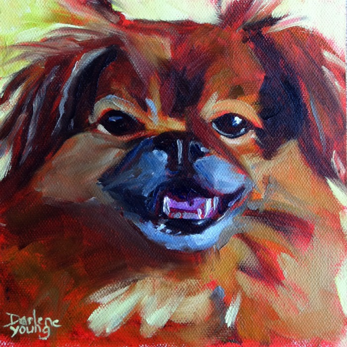 """The Best Dog In The World #4, oil on canvas board, 6x6"" original fine art by Darlene Young"
