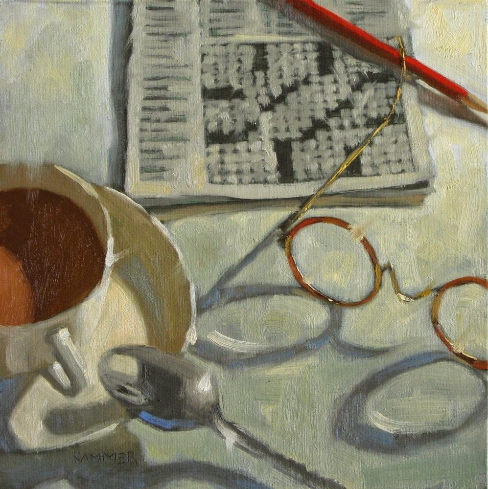 """""""Coffee with crossword 8 x 8   oil"""" original fine art by Claudia Hammer"""