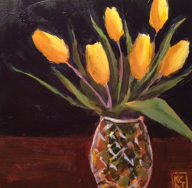 """""""Tulip Time - Already?? Original Painting by Kelley MacDonald"""" original fine art by Kelley MacDonald"""
