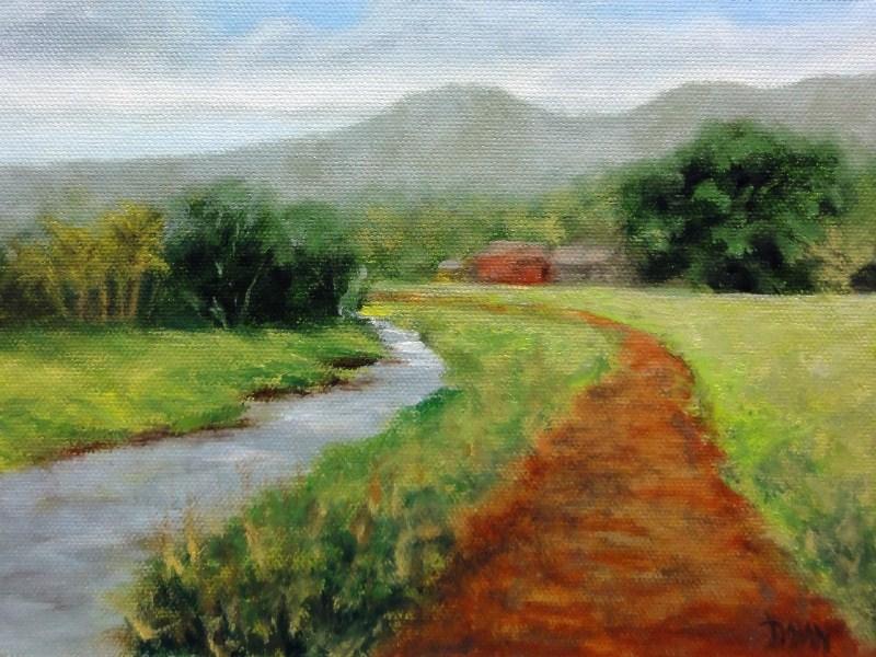 """Stream Through the Valley Kauai Hawaii"" original fine art by Dalan Wells"