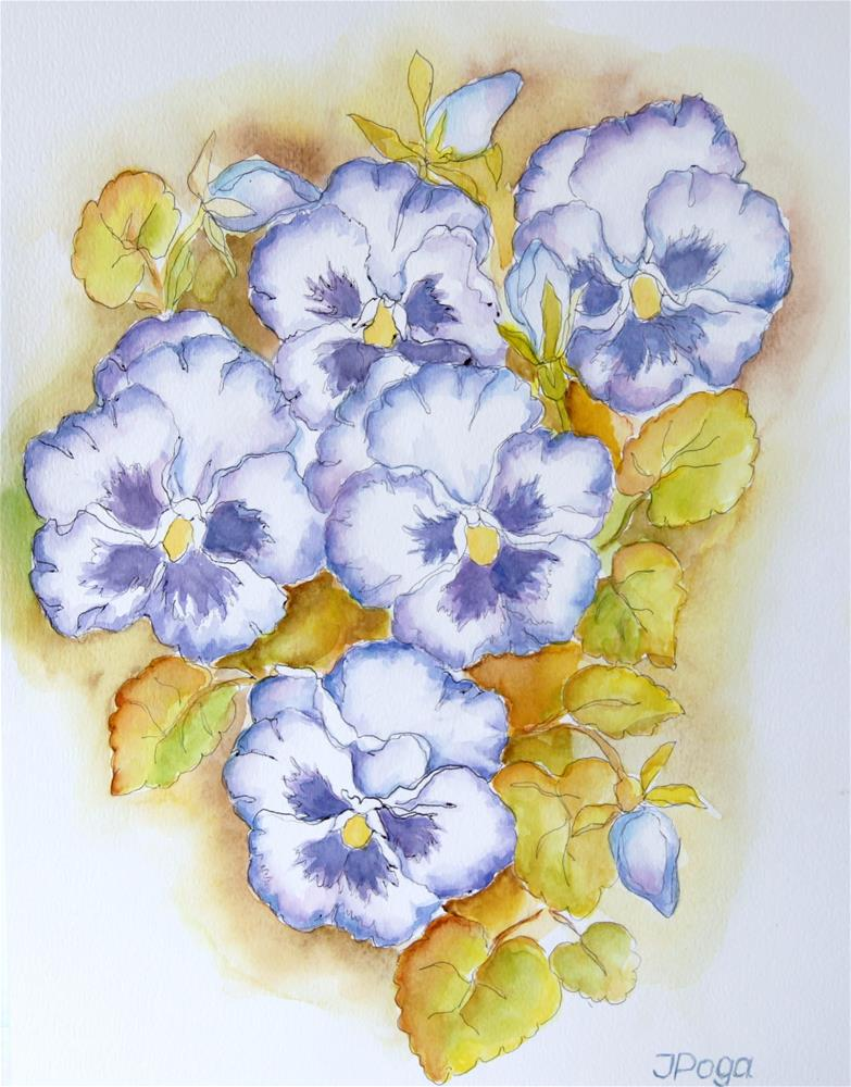 """Mom's pansies"" original fine art by Inese Poga"
