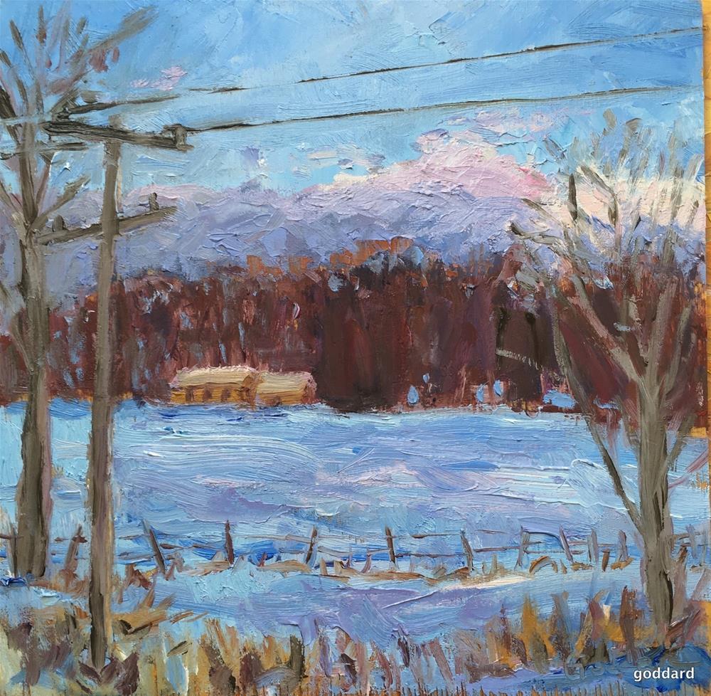 """""""Snowy Field of Dreams"""" original fine art by Shari Goddard Shambaugh"""