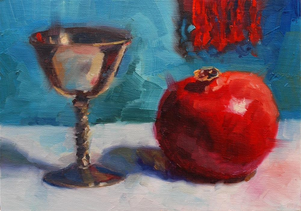 """No. 673 Pomegranate with Silver"" original fine art by Susan McManamen"