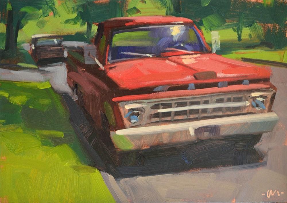 """""""Red Ford"""" original fine art by Carol Marine"""