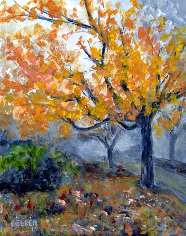 """""""Fall With Fog"""" original fine art by Judith Elder"""
