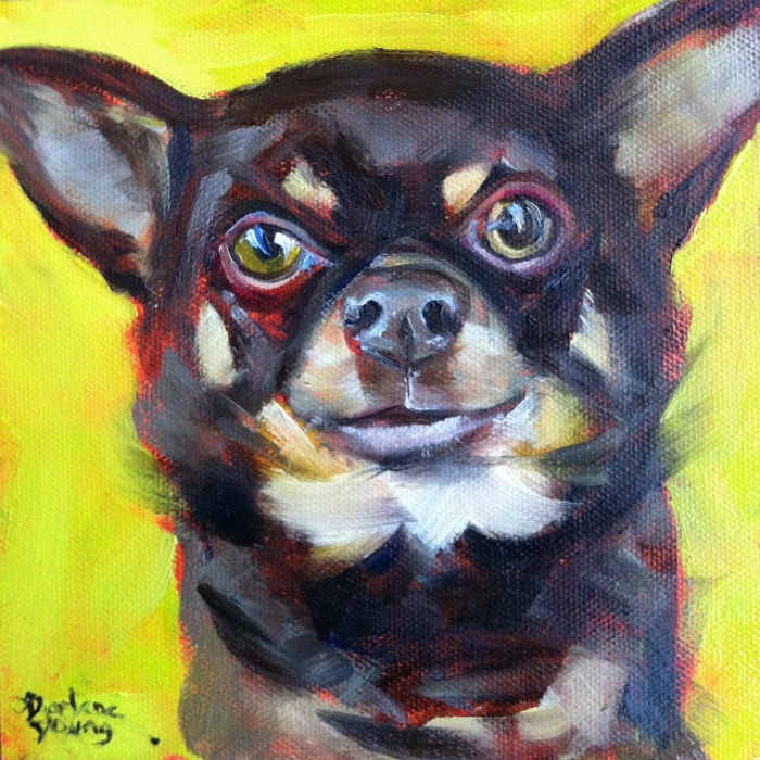 """""""The Best Dog in the World #5, oil on canvas board, 6x6"""" original fine art by Darlene Young"""