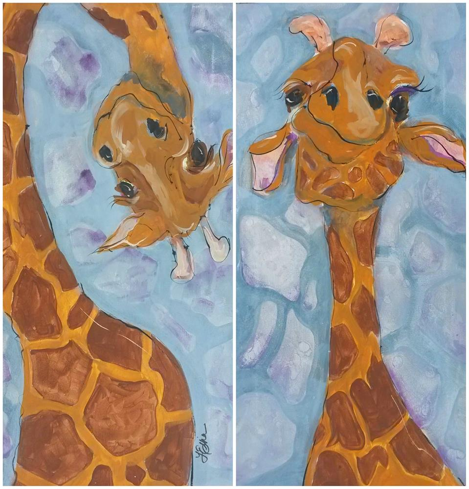 """""""Giraffe Set"""" original fine art by Terri Einer"""