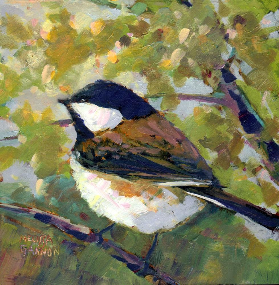 """Chickadee and Green"" original fine art by Melissa Gannon"