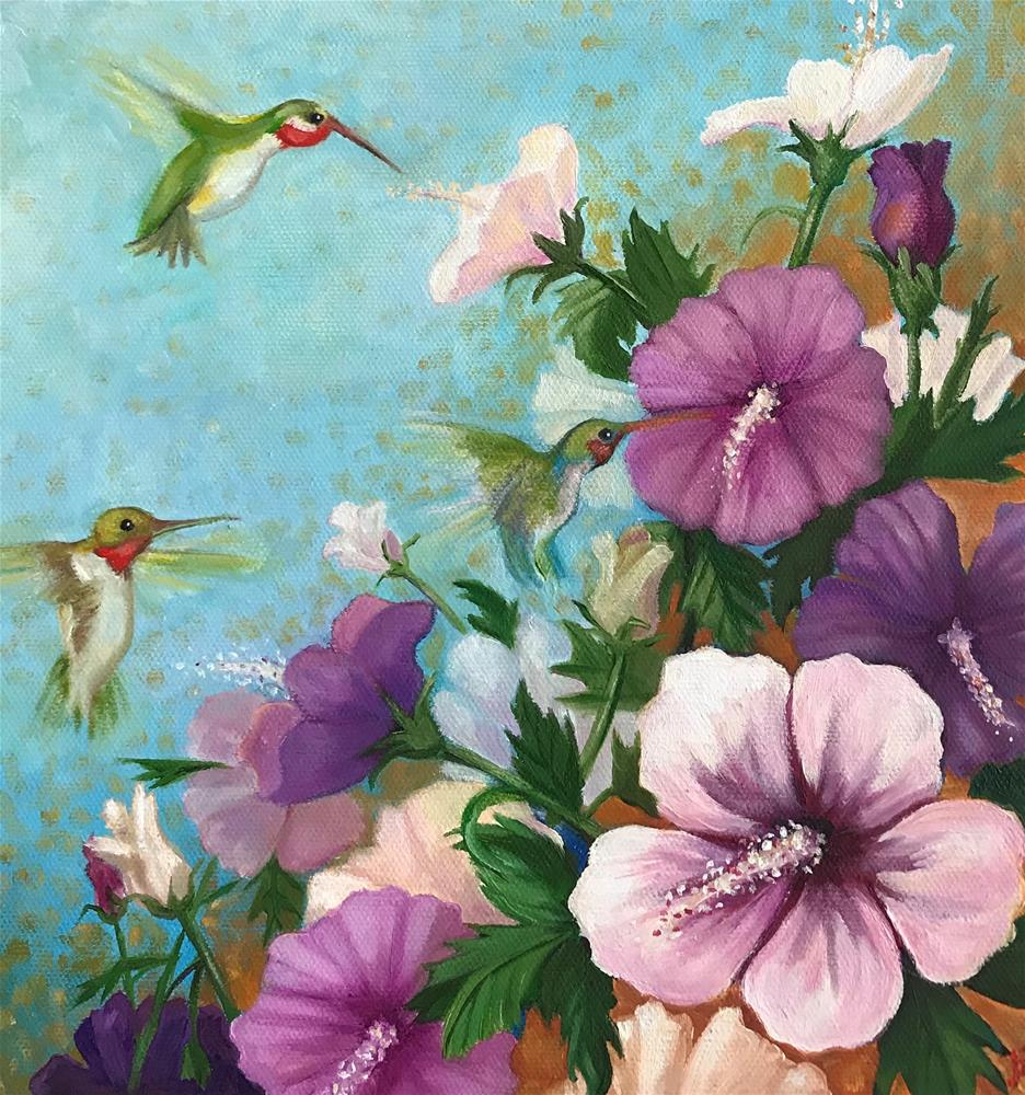 """Hummingbirds and Hibiscus"" original fine art by Joetta Currie"