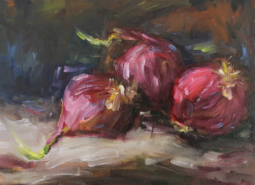 """Original oil purple onion vegetable kitchen art painting"" original fine art by Alice Harpel"